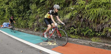 First on-road bicycle lane in Singapore being built in Sentosa