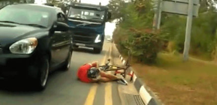 Hit and run along Changi Coast Road caught on camera involving cyclists.