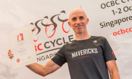 Alan Grant enters the Singapore Book of Records for the Longest Distance Covered On A Stationary Bike in 6 Hours at OCBC Cycle 2016 Event Launch