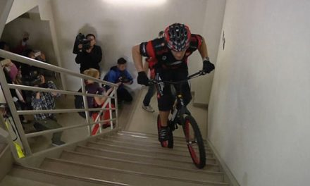 Polish cyclist break his own World Record by scaling 3,139 steps in one of the world's tallest buildings